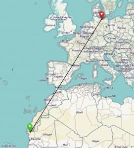 Karte Knutt Entfernung ca. 4.200 km Luftlinie